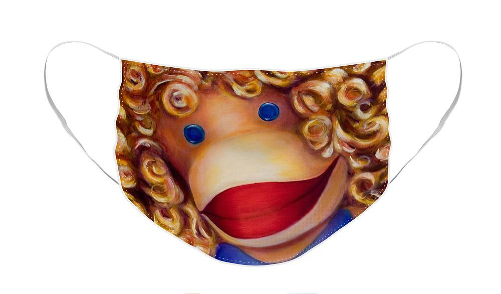 Children Face Mask featuring the painting Patricia Sock Monkey by Shannon Grissom