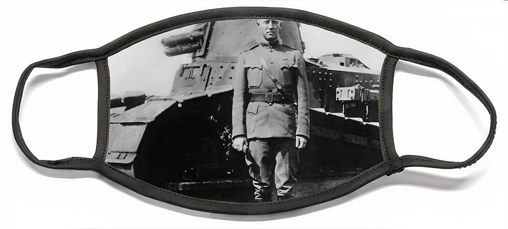 George Patton Face Mask featuring the photograph Patton Beside a Renault Tank - WWI by War Is Hell Store