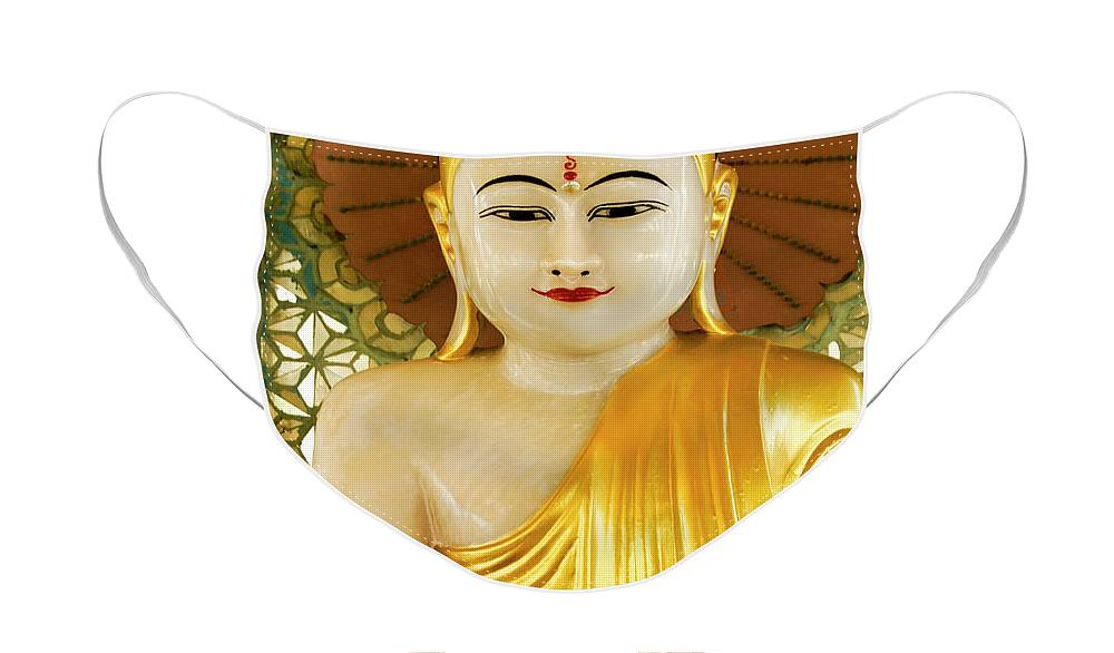Asia Face Mask featuring the photograph Peaceful Buddha by Michele Burgess