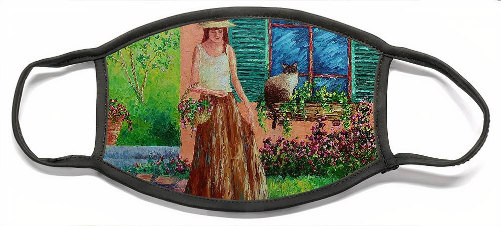 Woman Face Mask featuring the painting Peaceful Thoughts by David G Paul
