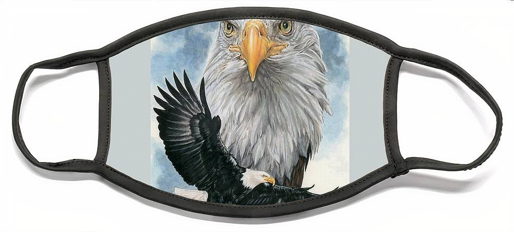 Bald Eagle Face Mask featuring the mixed media Peerless by Barbara Keith