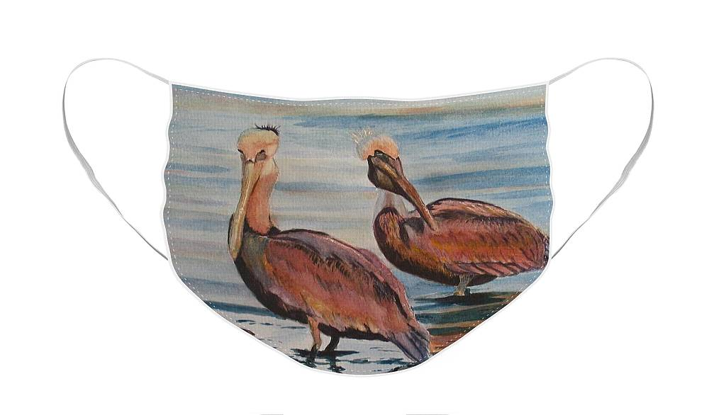 Pelicans Face Mask featuring the painting Pelican Party by Karen Ilari