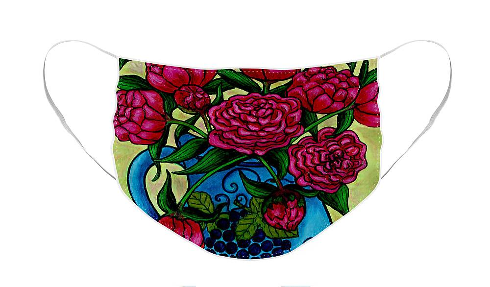 Peonies Face Mask featuring the painting Peony Party by Lisa Lorenz