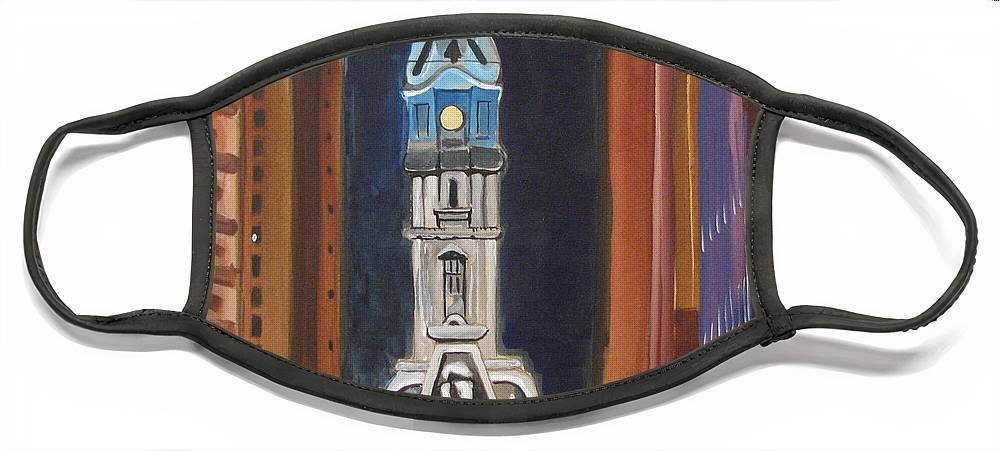 Landmarks Face Mask featuring the painting Philadelphia City Hall by Patricia Arroyo