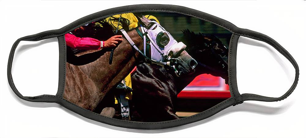Horse Face Mask featuring the photograph Photo Finish by Kathy McClure