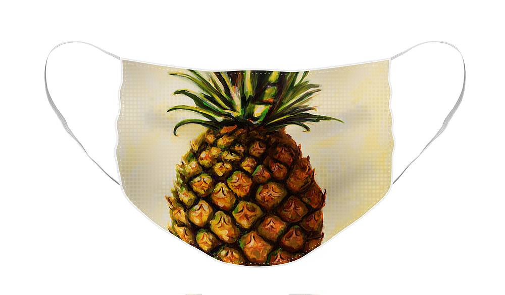 Pineapple Face Mask featuring the painting Pineapple Angel by Shannon Grissom