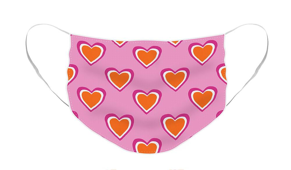 Hearts Face Mask featuring the mixed media Pink And Orange Hearts- Art by Linda Woods by Linda Woods
