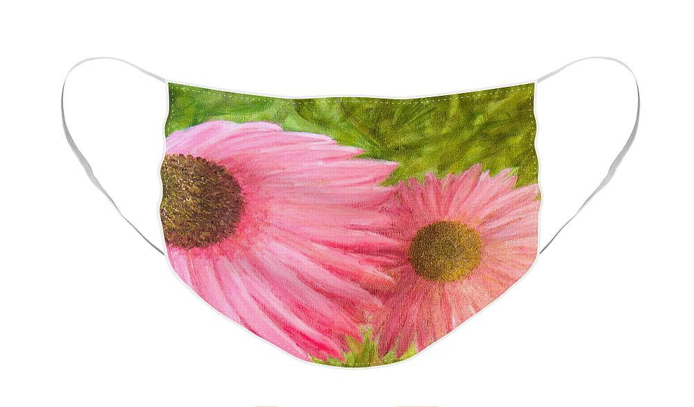 Pink Flowers Face Mask featuring the painting Pink Flowers by Paul Bartoszek