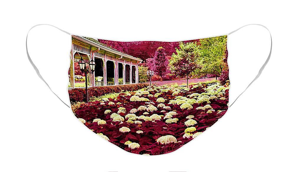 Pink Flower Face Mask featuring the digital art Pink Garden by Paul Bartoszek