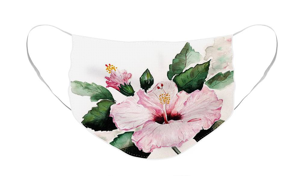 Hibiscus Painting  Floral Painting Flower Pink Hibiscus Tropical Bloom Caribbean Painting Face Mask featuring the painting Pink Hibiscus by Karin Dawn Kelshall- Best