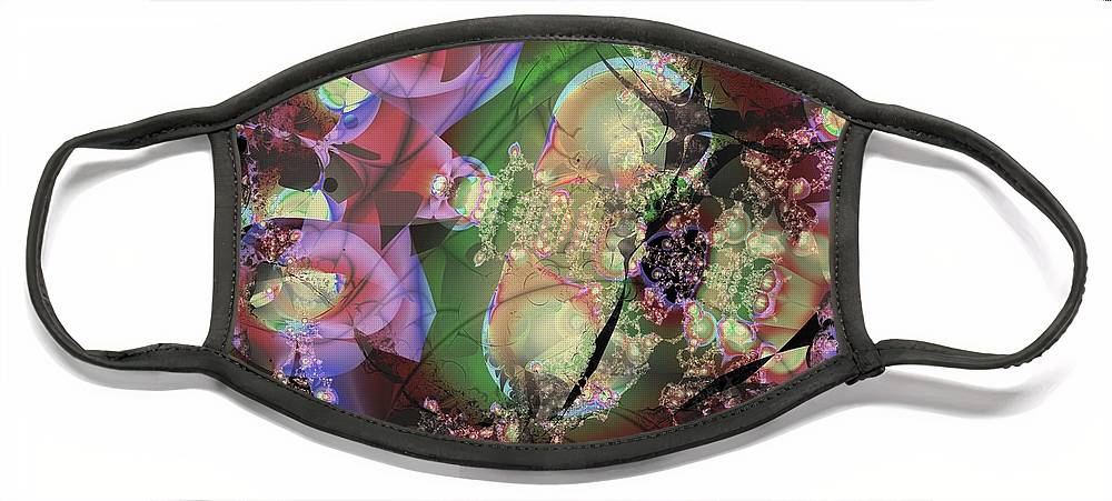 Pachinko Face Mask featuring the digital art Pink Pachinko by Ron Bissett