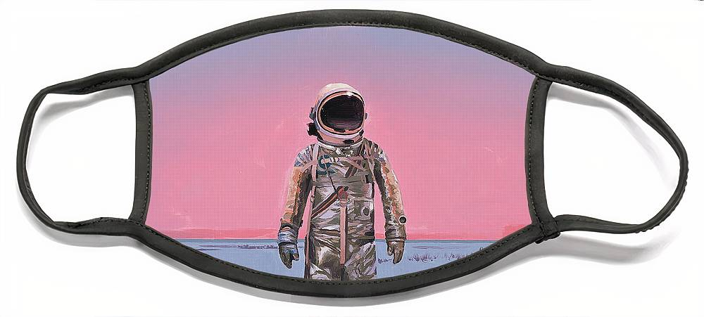Space Face Mask featuring the painting Pink Square by Scott Listfield