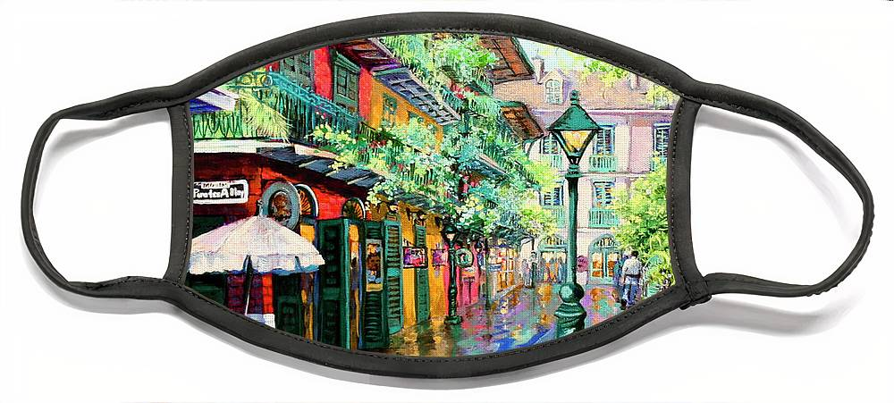New Orleans Art Face Mask featuring the painting Pirates Alley - French Quarter Alley by Dianne Parks