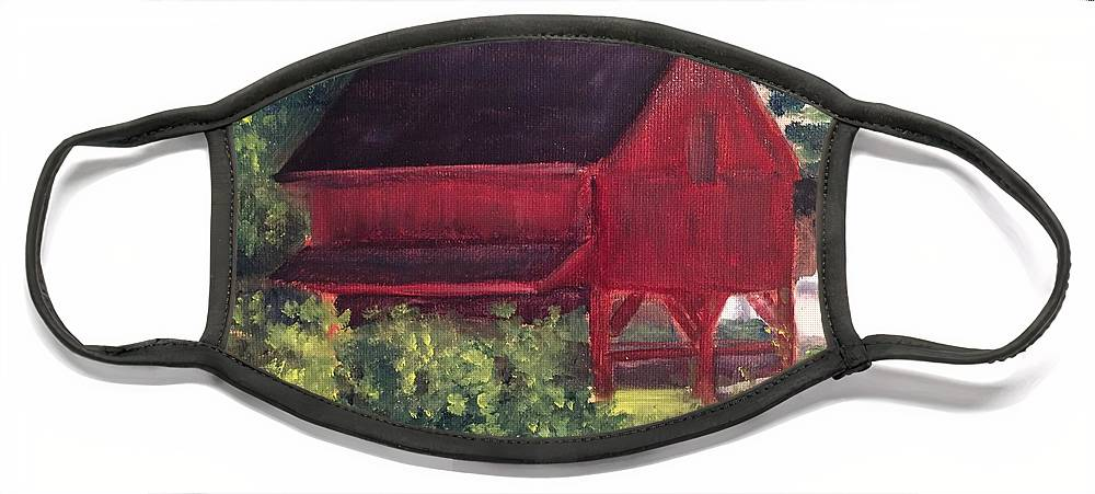 Medford Face Mask featuring the painting Plein Aire 7-12-16 by Sheila Mashaw