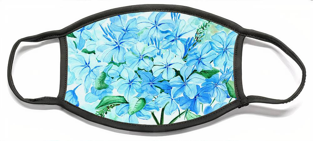 Floral Blue Painting Plumbago Painting Flower Painting Botanical Painting Bloom Blue Painting Face Mask featuring the painting Plumbago by Karin Dawn Kelshall- Best