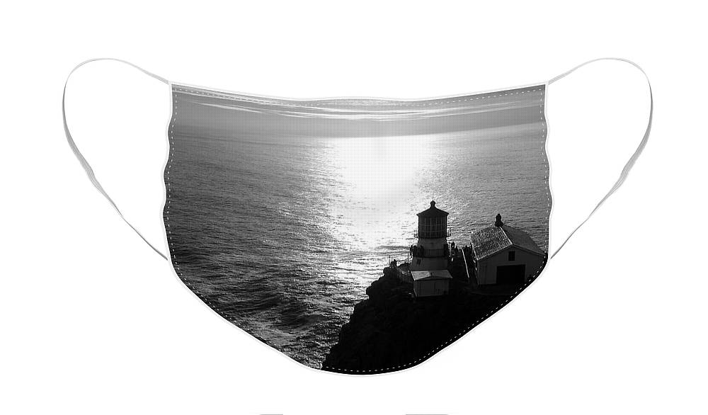 Lighthouse Face Mask featuring the photograph Point Reyes Lighthouse - Black and White by Carol Groenen