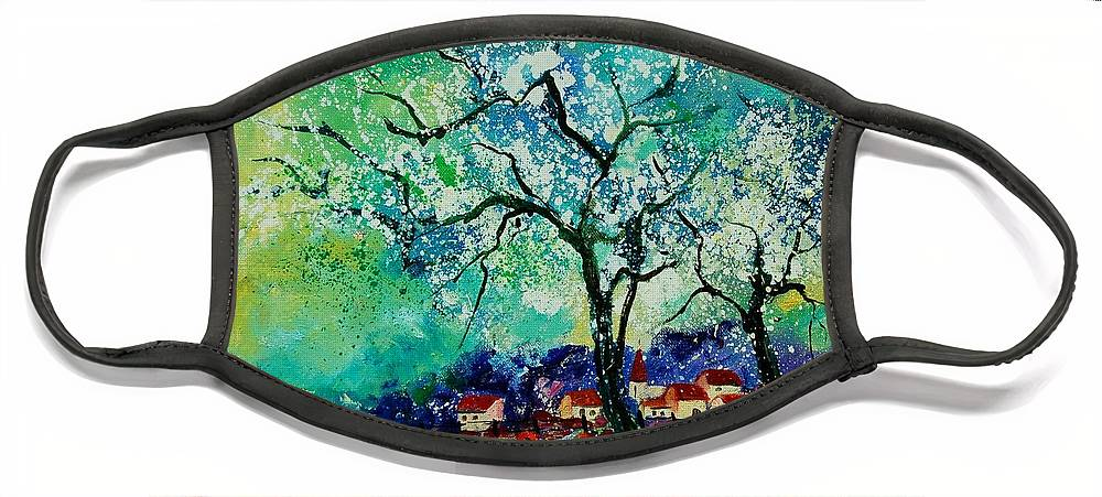 Landscape Face Mask featuring the painting Poppies and appletrees in blossom by Pol Ledent