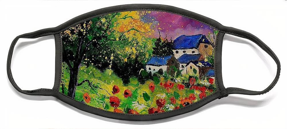 Landscape Face Mask featuring the painting Poppies and daisies 560110 by Pol Ledent