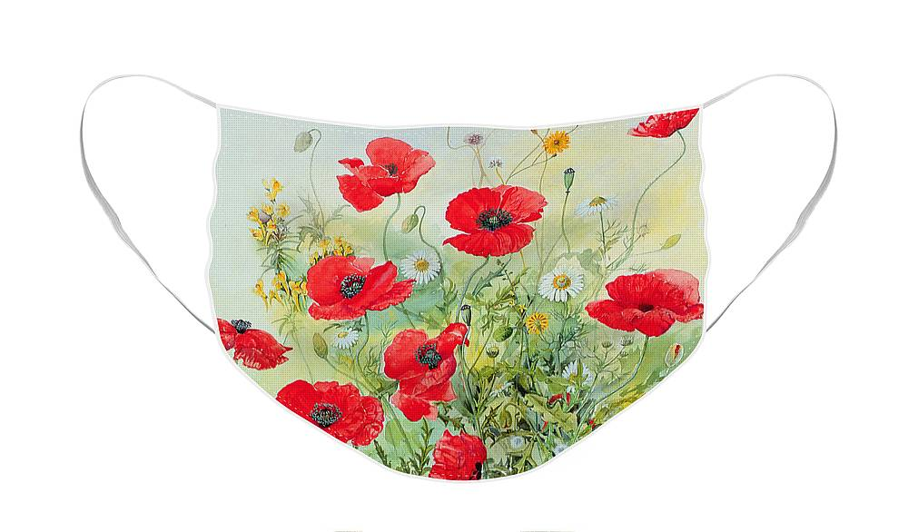 Flowers; Botanical; Flower; Poppies; Mayweed; Leaf; Leafs; Leafy; Flower; Red Flower; White Flower; Yellow Flower; Poppie; Mayweeds Face Mask featuring the painting Poppies and Mayweed by John Gubbins