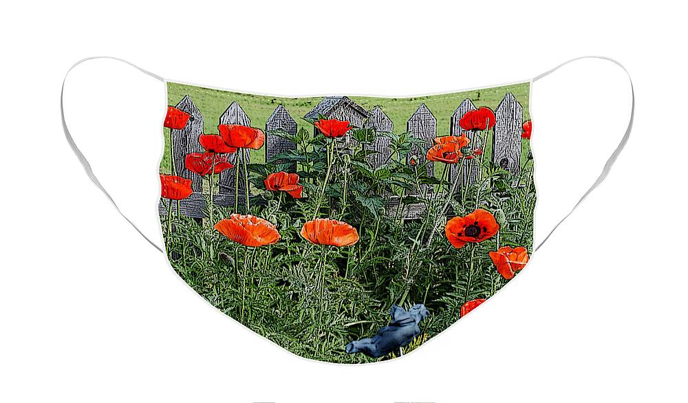 Berry Face Mask featuring the digital art Poppy Garden by Diane E Berry
