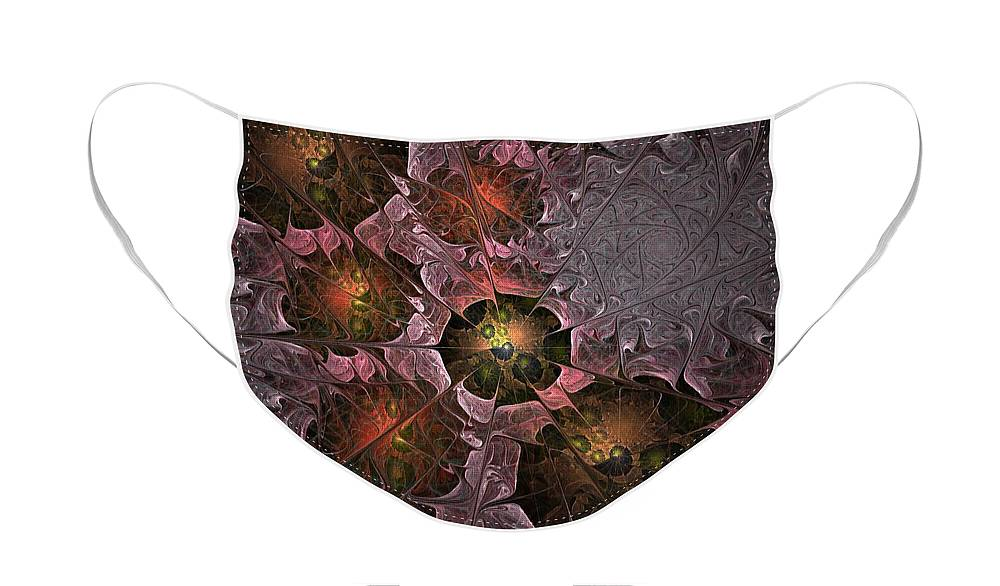 Abstract Face Mask featuring the digital art Poppy Tears - Fractal Art by Nirvana Blues