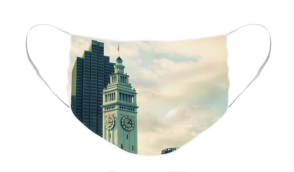 Clock Face Mask featuring the photograph Port of San Francisco by Linda Woods