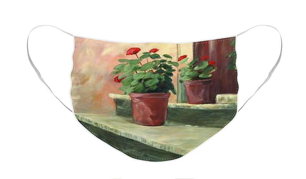 Flowers Face Mask featuring the painting Potted Geraniums by Linda Eades Blackburn