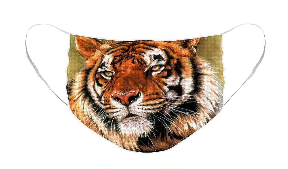 Tiger Face Mask featuring the pastel Power and Grace by Barbara Keith
