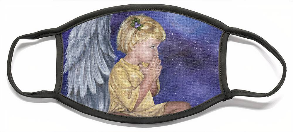 Christmas Face Mask featuring the painting Praying Angel by Anne Kushnick