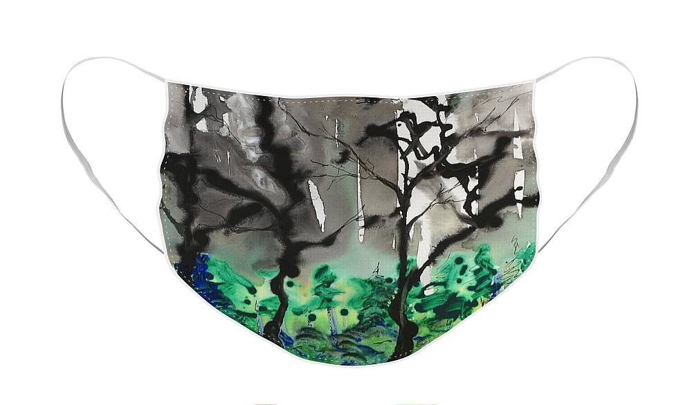 Forest Face Mask featuring the painting Primary Forest by Nadine Rippelmeyer