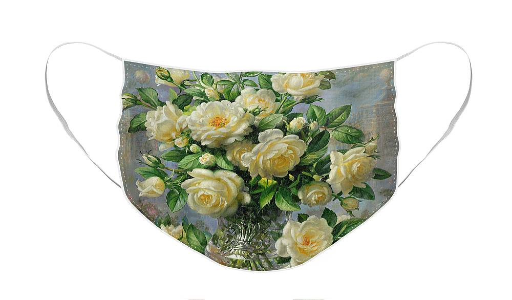 In Honour Of Lady Diana Spencer (1961-97); Still Life; Flower; Rose; Arrangement; Princess Of Wales (1981-96); Homage; Yellow; Flowers; Leafs Face Mask featuring the painting Princess Diana Roses in a Cut Glass Vase by Albert Williams