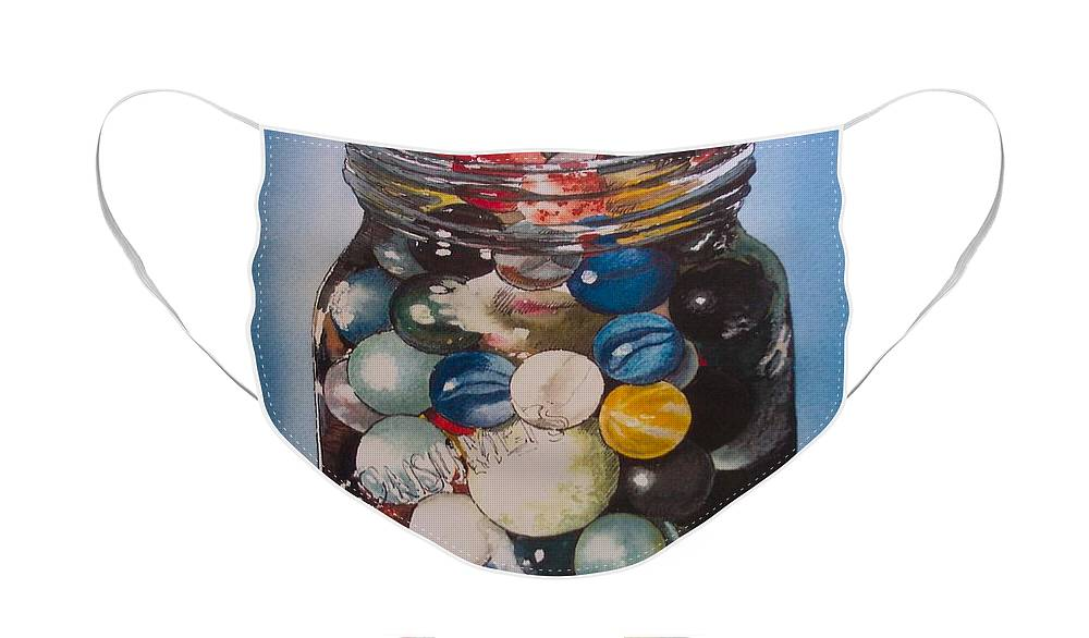 Marbles Face Mask featuring the painting Prized Collection by Victoria Heryet