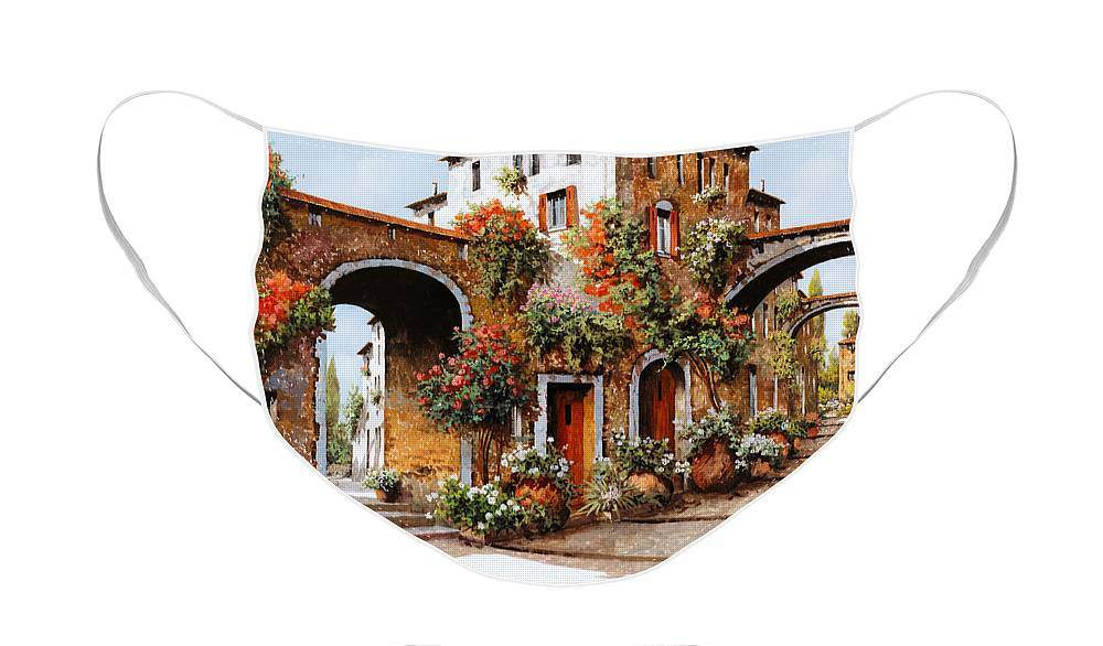 Landscape Face Mask featuring the painting Profumi Di Paese by Guido Borelli