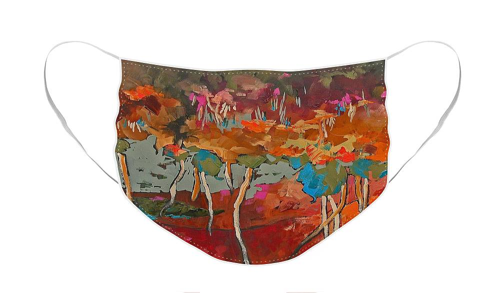 Original Face Mask featuring the painting Promise And A Smile by Linda Monfort