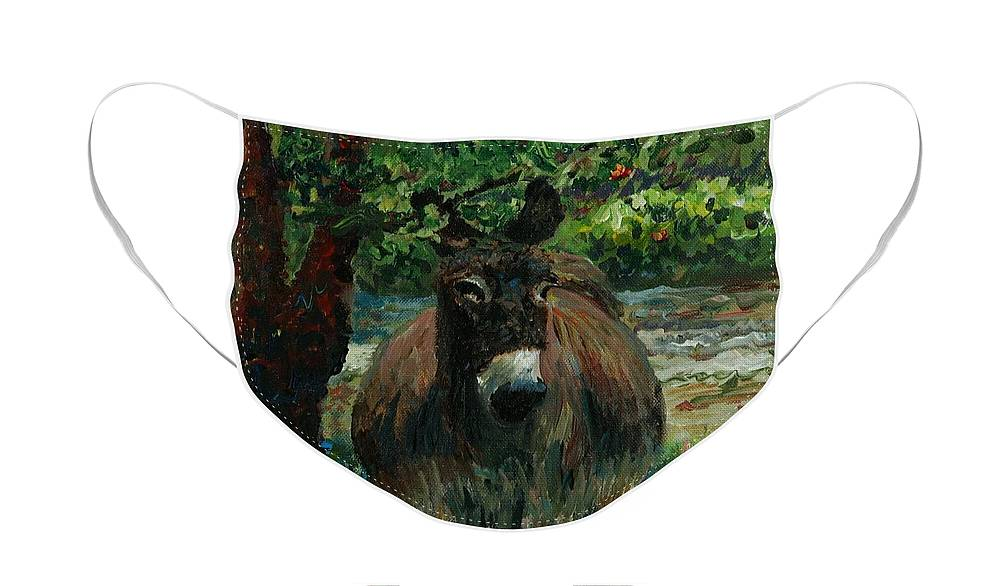 Donkey Face Mask featuring the painting Provence Donkey by Nadine Rippelmeyer