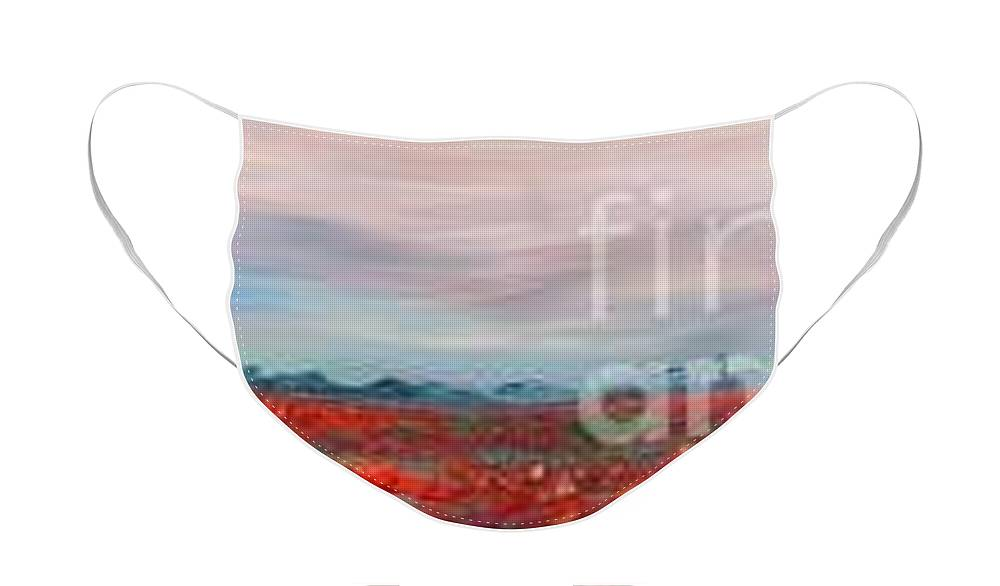 Poppies Face Mask featuring the painting Provence Poppies by Nadine Rippelmeyer