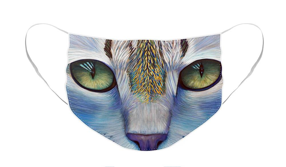 Cat Face Mask featuring the painting Purity by Brian Commerford
