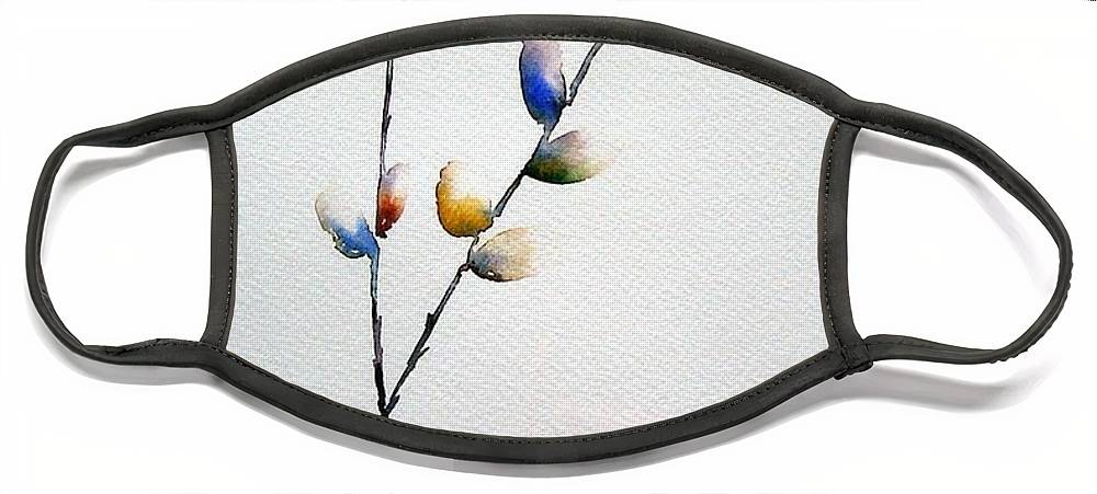 Pussy Willow Branches Face Mask featuring the painting Pussy Willows by Jo Smoley
