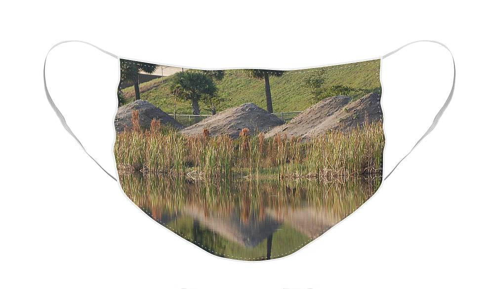 Grass Face Mask featuring the photograph Pyrimids By The Lakeside Cache by Rob Hans