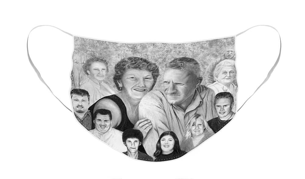 Family Portrait Face Mask featuring the drawing Quade Family Portrait by Peter Piatt
