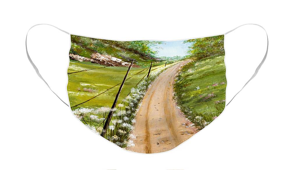 Landscape Face Mask featuring the painting Queen Ann's Lace by Dorothy Riley