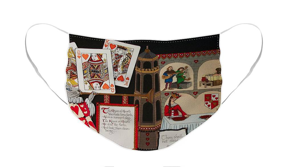Nursery Rhyme Face Mask featuring the painting Queen of Hearts by Victoria Heryet
