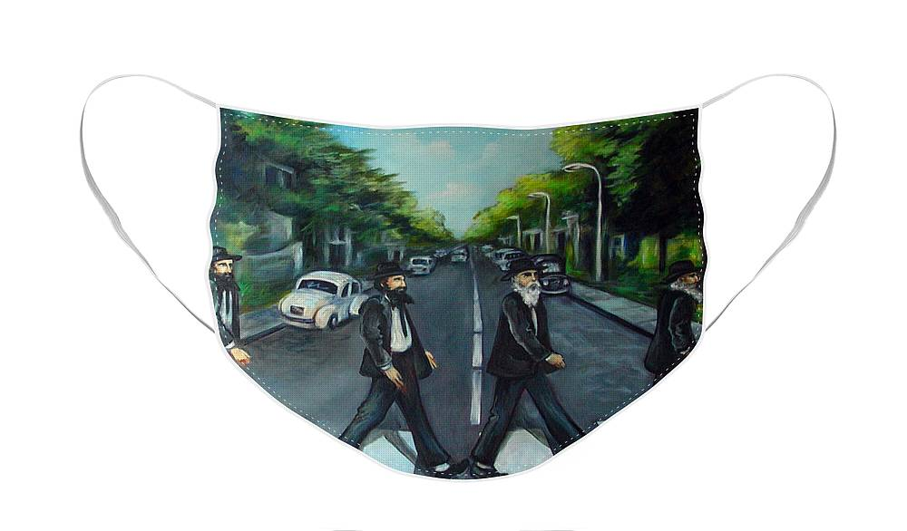 Surreal Face Mask featuring the painting Rabbi Road by Valerie Vescovi