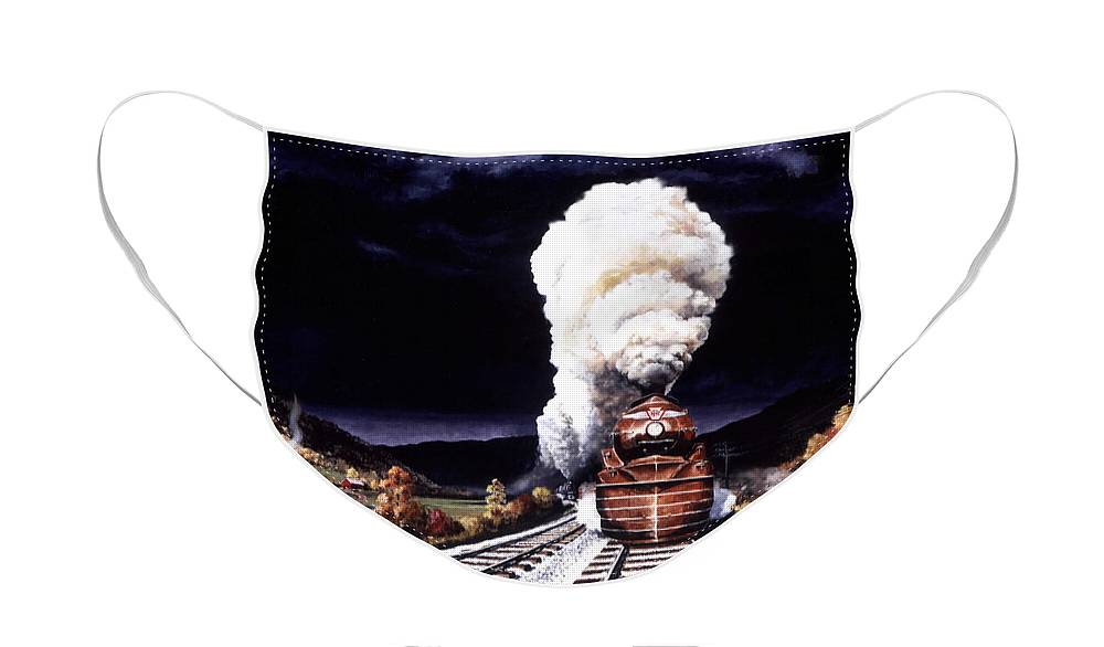 Train Face Mask featuring the painting Racing the Storm by David Mittner