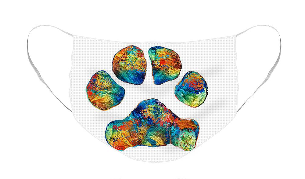 Rainbow Bridge Face Mask featuring the painting Rainbow Bridge Poem With Colorful Paw Print by Sharon Cummings by Sharon Cummings