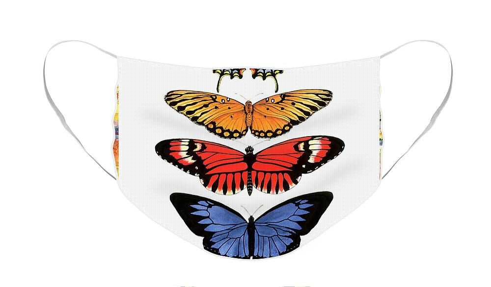 Butterflies Face Mask featuring the painting Rainbow Butterflies by Lucy Arnold