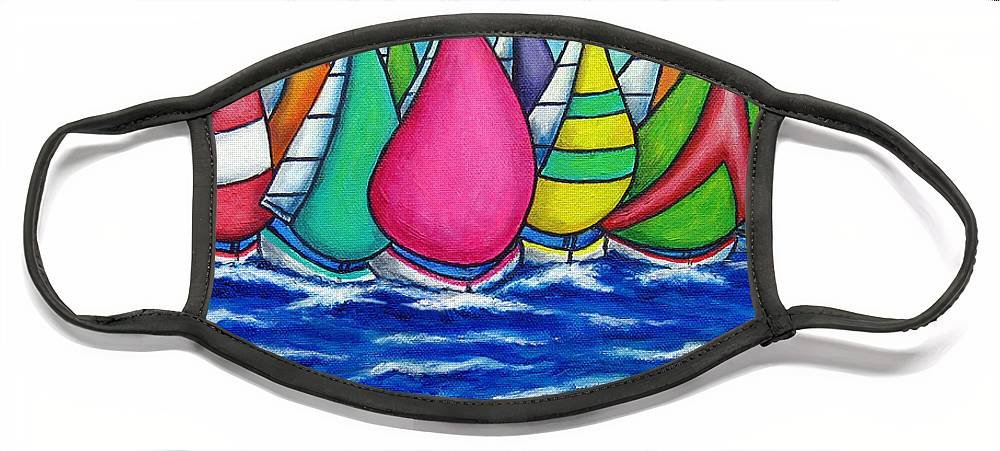 Boats Face Mask featuring the painting Rainbow Regatta by Lisa Lorenz