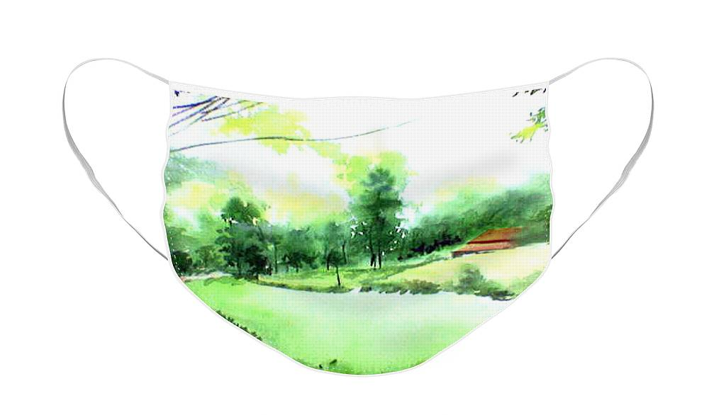 Landscape Face Mask featuring the painting Rains in west by Anil Nene