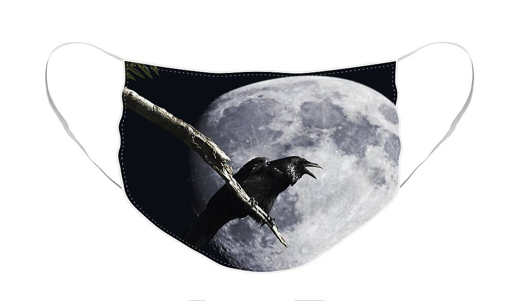 Wingsdomain Face Mask featuring the photograph Raven Barking at the Moon by Wingsdomain Art and Photography