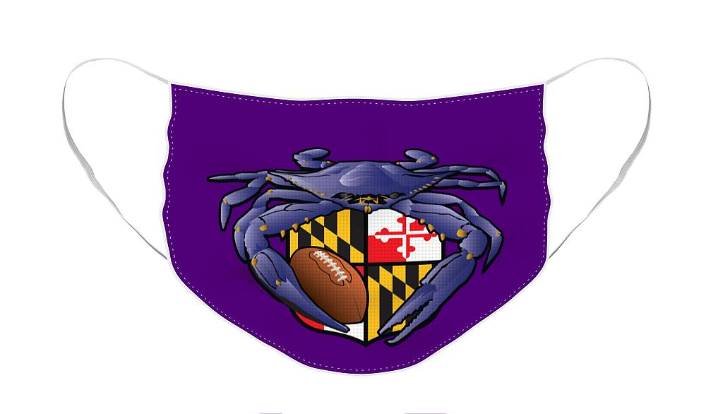 Baltimore Ravens Face Mask featuring the digital art Raven Crab Football Maryland Crest by Joe Barsin